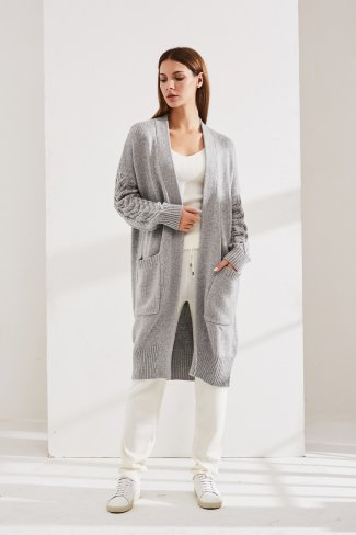 Ribbed sleeves cardigan